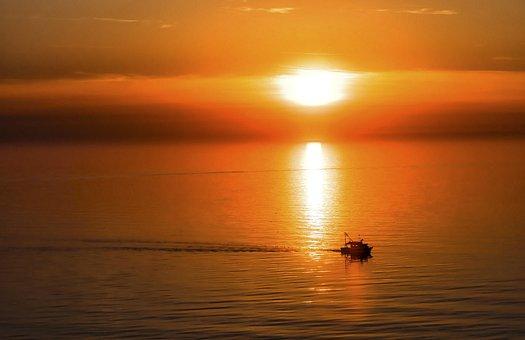 Sunset, Sea, Ocean, Horizon, Setting Sun, Dusk