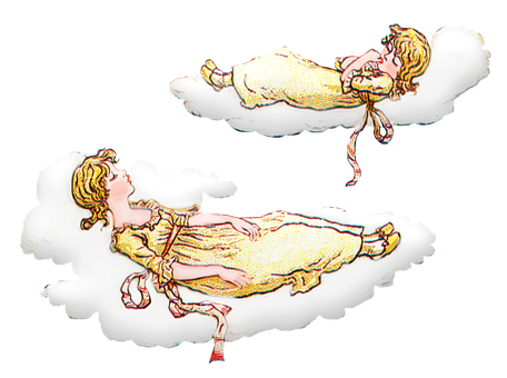 Girls, Sleeping, Clouds, Vintage, Children, Kids, Young
