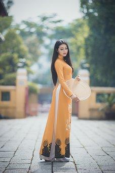 Ao Dai, Fashion, Woman, Vietnamese, Orange Ao Dai
