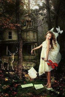 Fantasi, Gadis Kecil, Berdiri, Gaun, Bermain, Biola