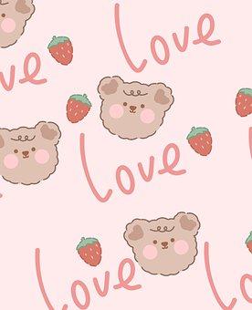 Bear, Strawberries, Love, Pattern, Cartoon, Cute