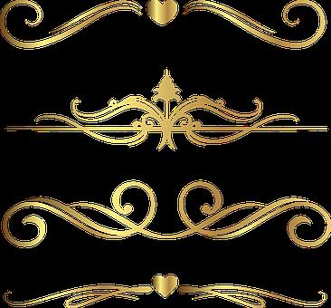 Dividers, Flourish, Gold Foil, Decorative, Hearts