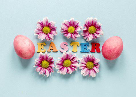 Easter, Eggs, Flat Lay, Flowers, Colored Eggs