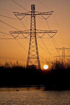 Sun, Sunset, Sunrise, Forest, Evening, Electricity