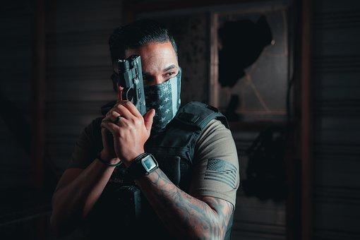 Officer, Handgun, Room, Military, Armed, Soldier, Mask