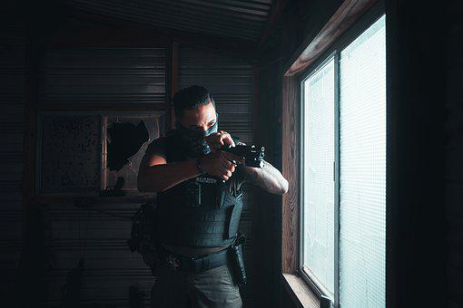 Officer, Handgun, Room, Military, Armed, Soldier