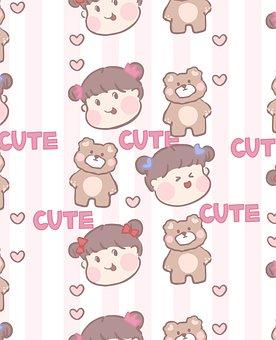 Girl, Bear, Hearts, Stripes, Pattern, Cartoon, Cute
