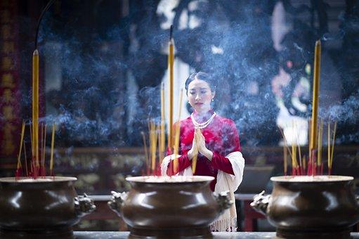 Temple, Incense, Woman, Praying, Ao Dai, Vietnamese