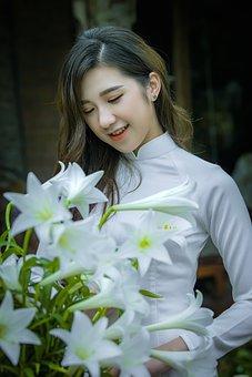 Ao Dai, Fashion, Woman, Smile, Vietnamese, White Ao Dai