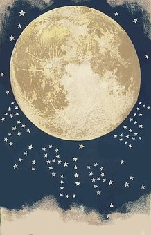 Moon, Stars, Craters, Night, Moonlight, Sky, Space