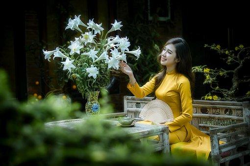 Ao Dai, Fashion, Woman, Smile, Vietnamese