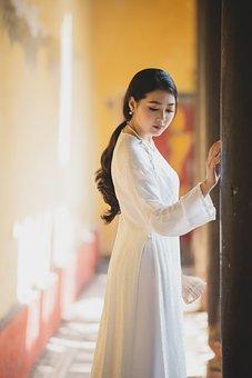 Ao Dai, Fashion, Woman, Vietnamese, White Ao Dai