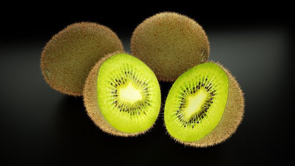 Kiwi, Fruit, Slices, Green, Healthy, Vitamins, 3d