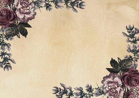 Flowers, Border, Vintage, Background, Copy Space, Roses