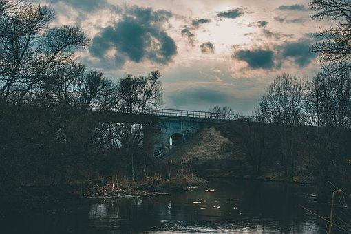 Bridge, River, Sunset, Trees, Bank, Clouds, Sky