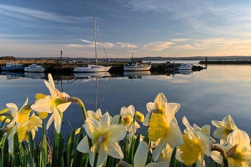 Fife, Scotland, Charlestown, Harbour, Evening, Boats