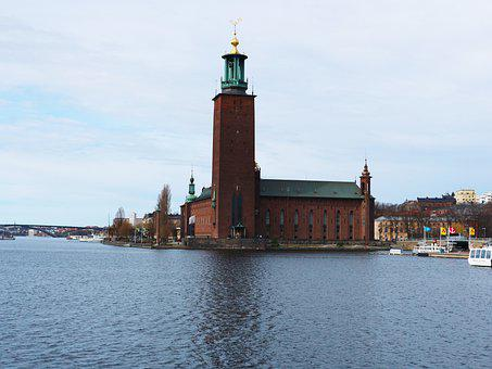 Tower, Building, Lake, Town Hall, Sweden, Stockholm