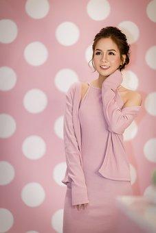 Fashion, Beauty, Woman, Smile, Dress, Pink Dress