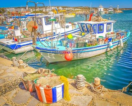 Boat, Fishing Boat, Harbor, Sea, Nets, Ayia Napa