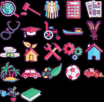 Icon Pack, Globe, Judge, People, Calculator, Document