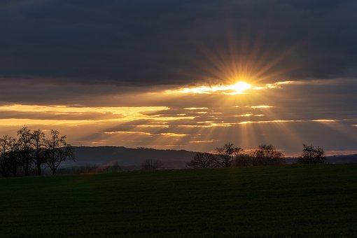 Sun, Sunset, Field, Meadow, Trees, Mountains, Hills