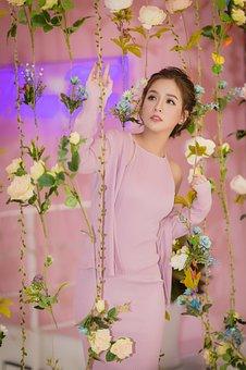 Fashion, Beauty, Woman, Dress, Pink Dress, Flowers