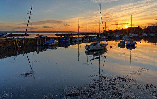 Boats, Port, Sunset, Reflection, Water