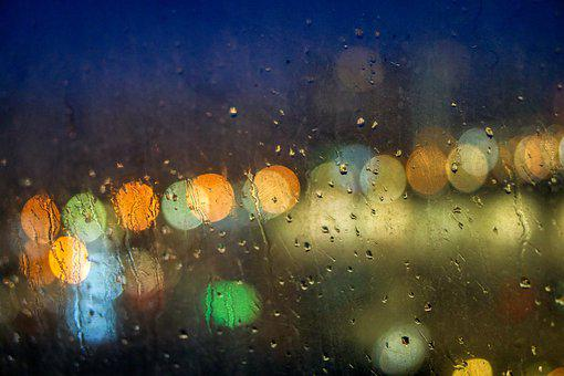 Abstract, Window, Evening, Rain, Water, Drops, Color