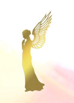 Woman, Angel, Golden Angel, Wings, Divine, Light Beam