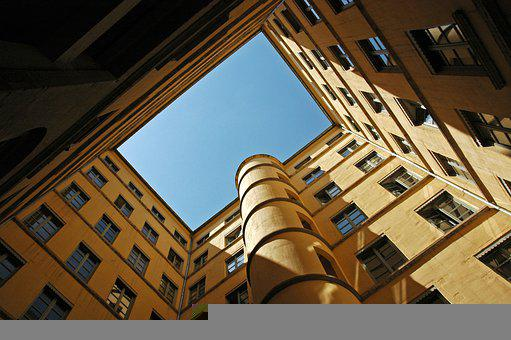 Building, Courtyard, Sky, Architecture, Windows