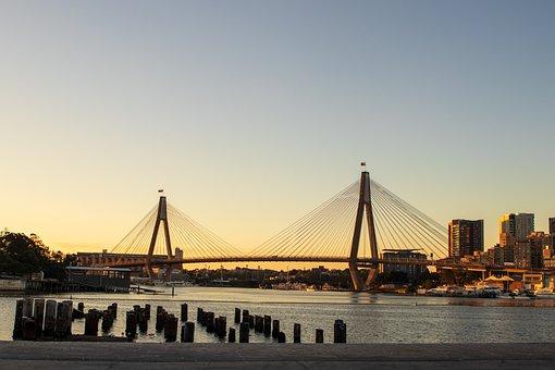 Bridge, Harbor, City, Anzac, Sydney, Sunset, Port, Bay
