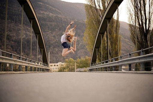 Dance, Jump, Bridge, Girl, Woman, Happy, Dancing