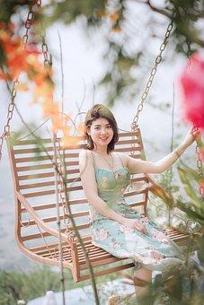 Woman, Leisure, Porch Swing, Tourist, Smile, Happy