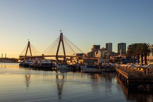 Bridge, Harbor, City, Anzac, Sydney, Sunset, Port