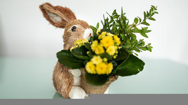 Easter Bunny, Easter, Decoration, Flowers, Plant, Hare