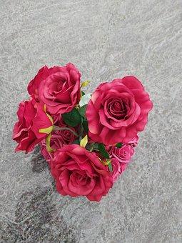 Kunst Blumen, Strauß, In, Rot