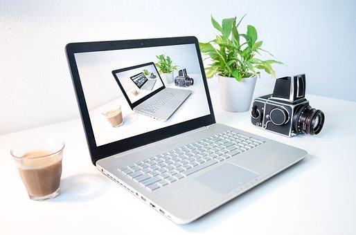 Laptop, Computer, Droste Effect, Camera, Plant, Office