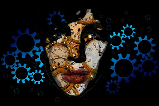 Gears, Woman, Clock, Time, Head, Face, View, Outlook