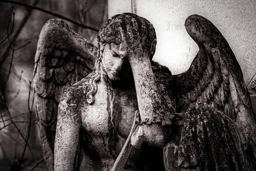 Angel, Sculpture, Statue, Figure, Cemetery, Stone