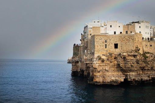 Sea, Town, Rainbow, Coast, Ocean, Water, Buildings