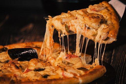 Pizza, Food, Mozzarella, Cheese, Slice, Meat