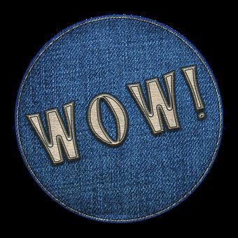 Wow, Patch, Icon, Denim, Circle, Fabric, Fashion
