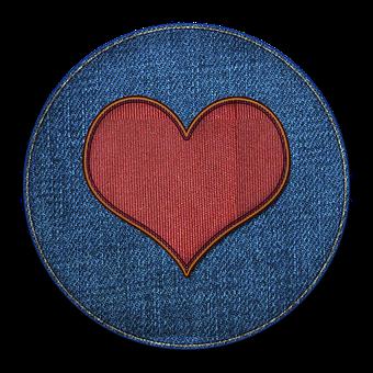 Heart, Patch, Icon, Love, Symbol, Denim, Circle, Fabric