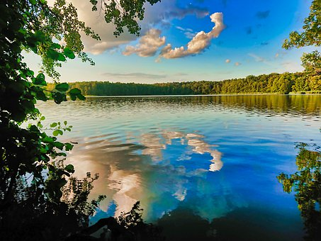 Lake, Trees, Reflection, Sky, Clouds