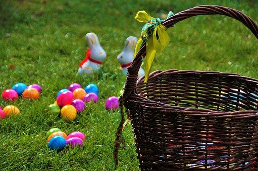 Easter, Basket, Wicker, Eggs, Color, Spring