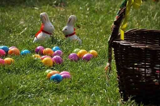 Easter, Eggs, Field, Grass, Colored Eggs, Bunnies