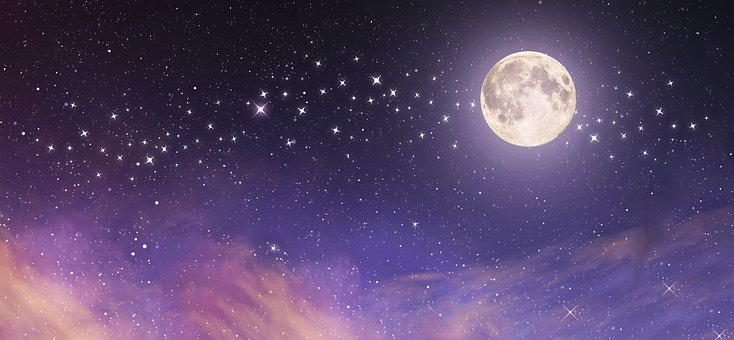 Moon, Stars, Sky, Space, Clouds, Lunar, Full Moon