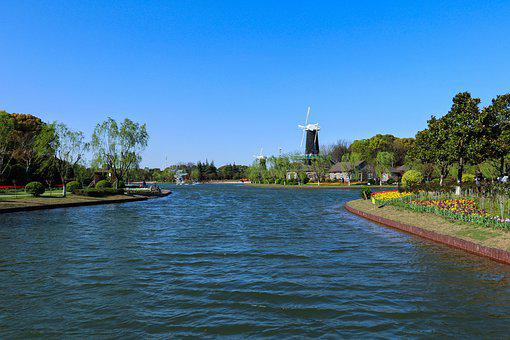 River, Windmill, Town, Countryside, Lake, Water, Park