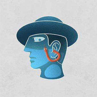 Man, Snake, Gossip, Ear, Curse, Poison, Head, Hat