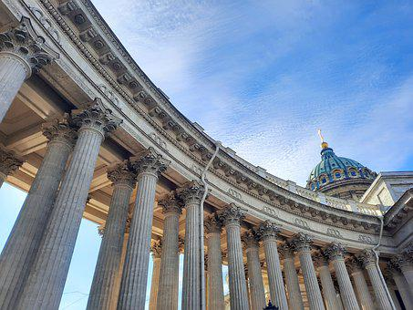 Kazan Cathedral, Pillars, Architecture, Sky, Cathedral